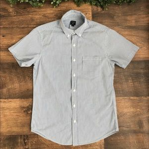 J.Crew Blue Striped Button up Polo Size S